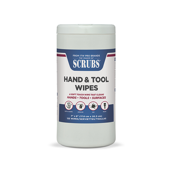 SCRUBS® Hand & Tool Wipes 125-wipe container
