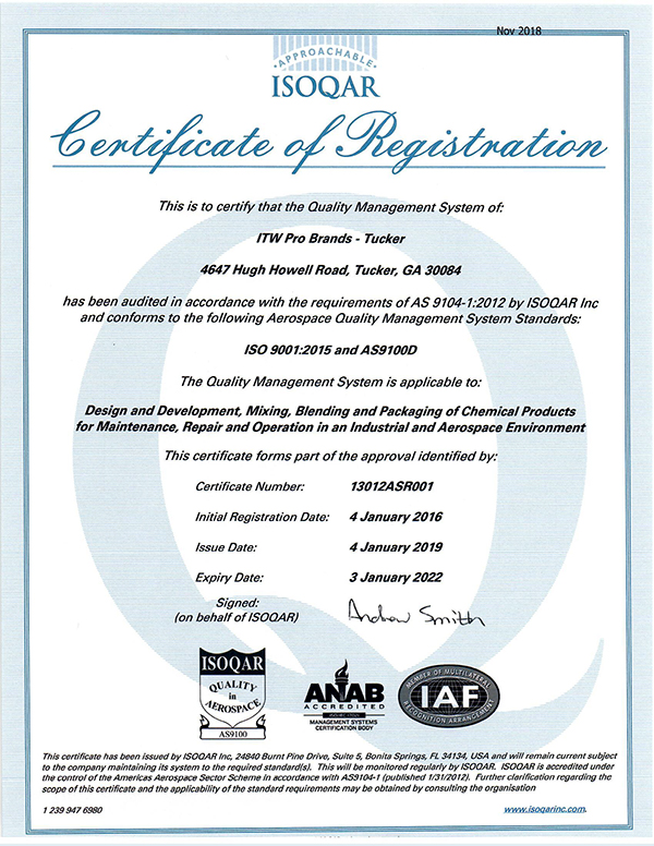 AS9100D Certificate of Registration - Tucker
