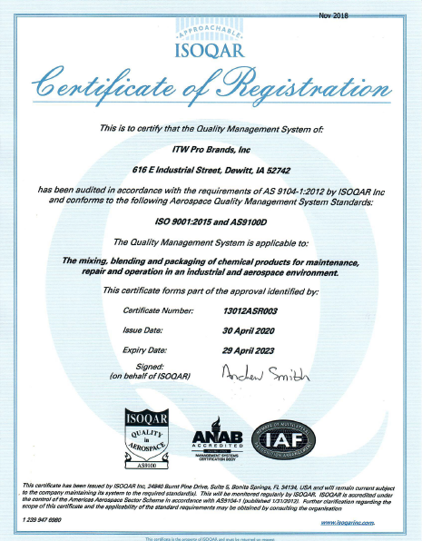 AS9100D Certificate of Registration – DeWitt