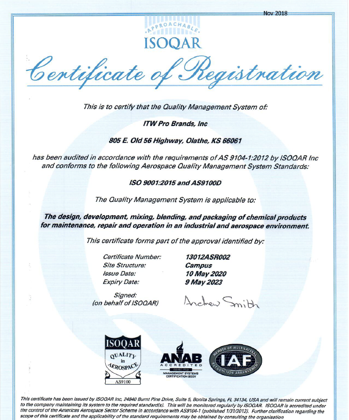 AS9100D Certificate of Registration - Olathe
