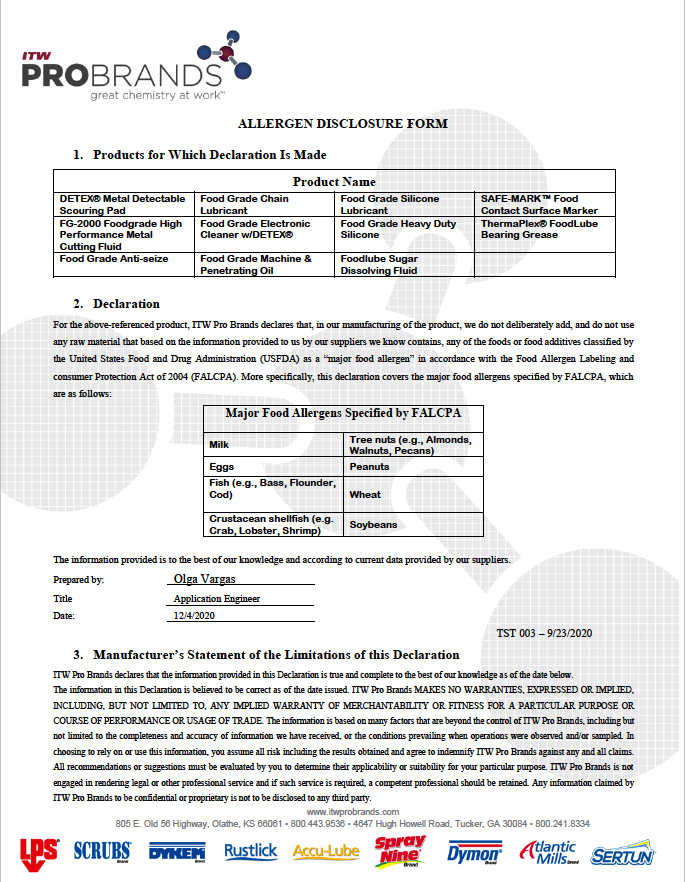 Allergen Disclosure Form