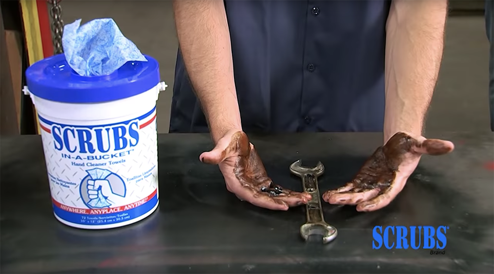 How SCRUBS-IN-A-BUCKET HAND CLEANER TOWELS removes oil and dirt on the go